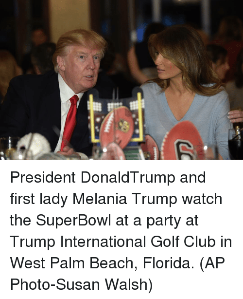 First Ladies: President DonaldTrump and first lady Melania Trump watch the SuperBowl at a party at Trump International Golf Club in West Palm Beach, Florida. (AP Photo-Susan Walsh)