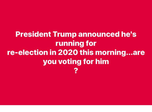 Memes, Trump, and Running: President Trump announced he's  running for  re-election in 2020 this morning...are  you voting for hinm  2
