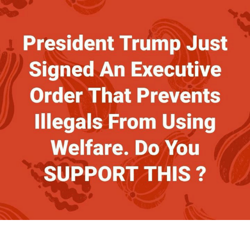 Memes, Trump, and 🤖: President Trump Just  Signed An Executive  Order That Prevents  Illegals From Using  Welfare. Do You  SUPPORT THIS?