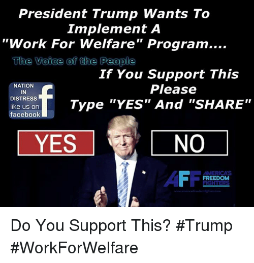 "Facebook, Memes, and The Voice: President Trump Wants To  Implement A  ""Work For Welfare"" Program....  The Voice of he People  If You Support This  Please  NATION  IN  DISTRESS  like us on  facebook  Type ""YES"" And ""SHARE""  YES  NO  FREEDOM Do You Support This? #Trump #WorkForWelfare"