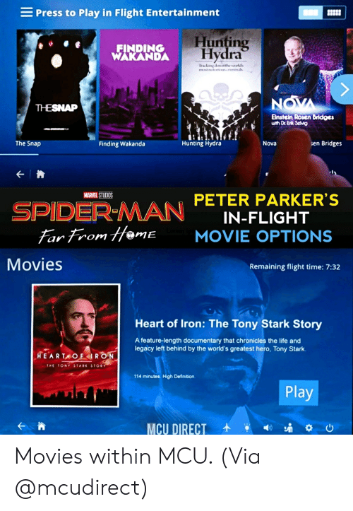 Life, Marvel Comics, and Movies: Press to Play in Flight Entertainment  Hunting  Hydra  FINDING  WAKANDA  Traking dowa the workds  most notorionminal  NOVA  THESNAP  Elnstein Rosen Bridges  with Dr Erk Selvi  Hunting Hydra  The Snap  Nova  sen Bridges  Finding Wakanda  SPIDER-MAN PETER PARKER'S  Far From Hame  MARVEL STUDIOS  IN-FLIGHT  MOVIE OPTIONS  IE  Movies  Remaining flight time: 7:32  Heart of Iron: The Tony Stark Story  A feature-length documentary that chronicles the life and  legacy left behind by the world's greatest hero, Tony Stark.  HEARTAOFIRON  THE TONY STARK STORY  114 minutes. High Definition  Play Movies within MCU. (Via @mcudirect)