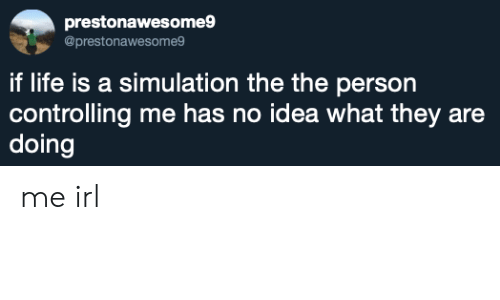 Life, Irl, and Me IRL: prestonawesome9  @prestonawesome9  if life is a simulation the the person  controlling me has no idea what they are  doing me irl