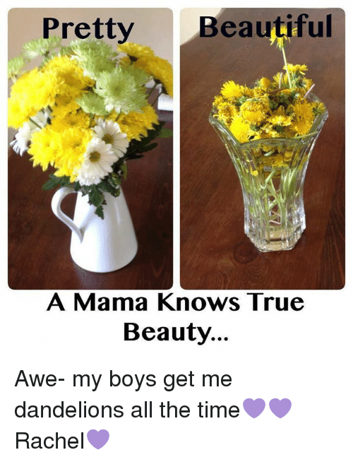 Beautiful, Memes, and True: Pretty  Beautiful  A Mama Knows True  Beauty... Awe- my boys get me dandelions all the time💜💜 Rachel💜