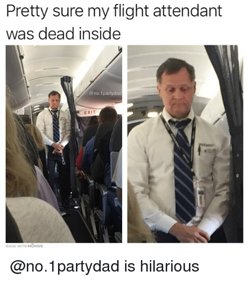 Memes, Flight, and Flight Attendant: Pretty sure my flight attendant  was dead inside  @no. 1partyda  EXIT  MADE WITH MOMUS @no.1partydad is hilarious