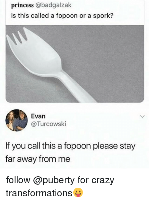 Crazy, Funny, and Princess: princess @badgalzak  is this called a fopoon or a spork?  Evan  @Turcowski  If you call this a fopoon please stay  far away from me follow @puberty for crazy transformations😛