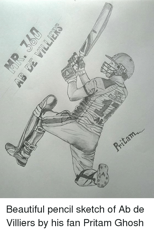 Beautiful, Memes, and 🤖: Pritam- Beautiful pencil sketch of Ab de Villiers by his fan Pritam Ghosh