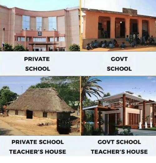 Memes, 🤖, and Private: PRIVATE  SCHOOL  PRIVATE SCHOOL  TEACHER'S HOUSE  GOVT  SCHOOL  GOVT SCHOOL  TEACHER'S HOUSE