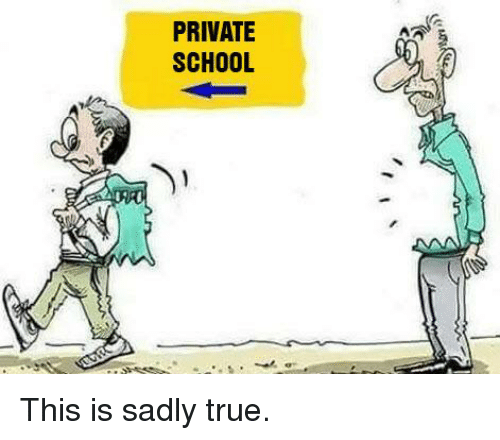 Memes, School, and True: PRIVATE  SCHOOL This is sadly true.