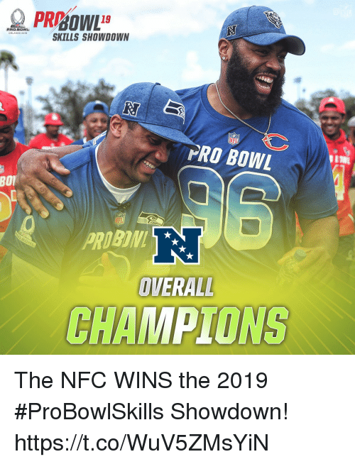 Memes, Orlando, and Pro: PRO BOWL  ORLANDO 201a  SKILLS SHOWDOWN  PRO BOWL  BOI  R.  OVERALL  CHAMPIONS The NFC WINS the 2019 #ProBowlSkills Showdown! https://t.co/WuV5ZMsYiN