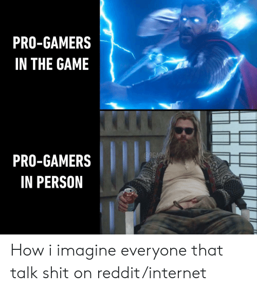 9gag, Internet, and Reddit: PRO-GAMERS  IN THE GAME  9GAG  PRO-GAMERS  IN PERSON How i imagine everyone that talk shit on reddit/internet