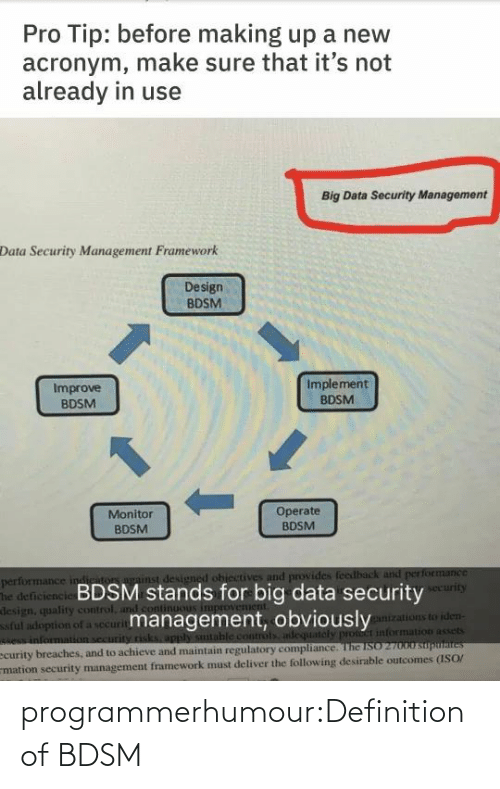 maintain: Pro Tip: before making up a new  acronym, make sure that it's not  already in use  Big Data Security Management  Data Security Management Framework  Design  BDSM  Implement  Improve  BDSM  BDSM  1.  Operate  BDSM  Monitor  BDSM  performance indiriton against designed ohiectives and provides feedback and performance  The deficiencie BDSM stands for big data security  design, quality control, and cont  ful adoption of a securitmanagement, obviously  e information security risks, apply sutable controls adequately pront information assets  ecurity breaches, and to achieve and maintain regulatory compliance. The ISO 27000 suputaites  mation security management framework must deliver the following desirable outcomes (ISO/  security  ganizations to iden- programmerhumour:Definition of BDSM