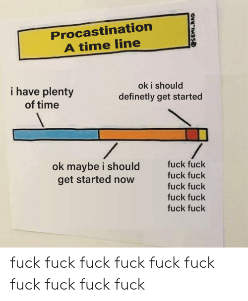 Fuck, Time, and Now: Procastination  A time line  ok i should  definetly get started  i have plenty  of time  fuck fuck  ok maybe i should  get started now  fuck fuck  fuck fuck  fuck fuck  fuck fuck fuck fuck fuck fuck fuck fuck fuck fuck fuck fuck