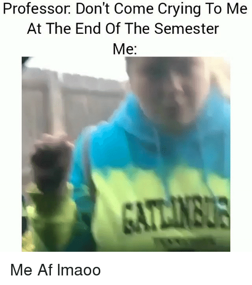 Af, Crying, and Funny: Professor. Don't Come Crying To Me  At The End Of The Semester  Me: Me Af lmaoo