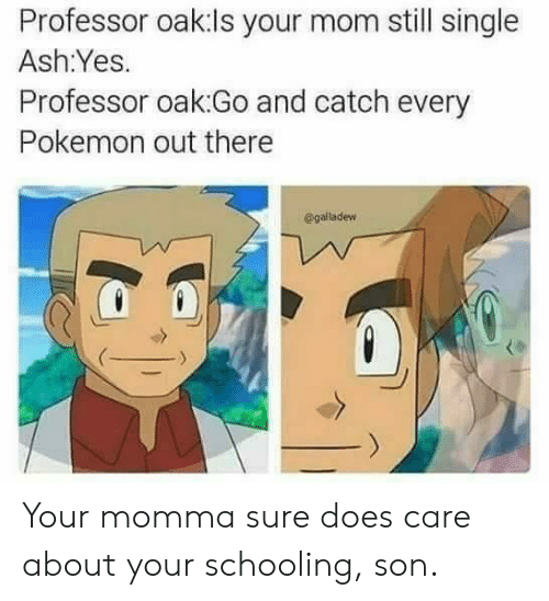 Ash, Pokemon, and Mom: Professor oak:ls your mom still single  Ash:Yes.  Professor oak:Go and catch every  Pokemon out there  @galladew Your momma sure does care about your schooling, son.