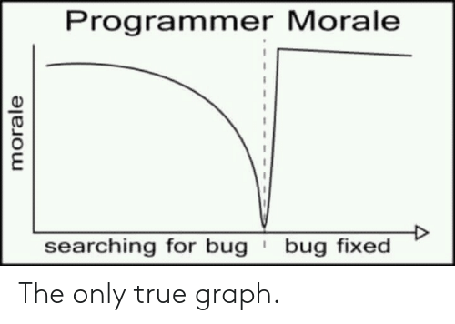 True, Bug, and For: Programmer Morale  bug fixed  searching for bug  morale The only true graph.