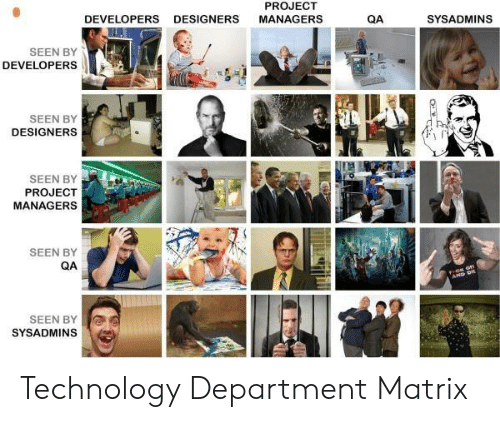 Designers: PROJECT  DEVELOPERS  DESIGNERS  MANAGERS  QA  SYSADMINS  SEEN BY  DEVELOPERS  SEEN BY  DESIGNERS  SEEN BY  PROJECT  MANAGERS  SEEN BY  QA  AP D  SEEN BY  SYSADMINS Technology Department Matrix