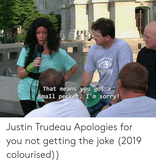 Sorry, Justin Trudeau, and Got: PROMIYO  That means you got a  small peckerI'm sorry!  $4r4 Justin Trudeau Apologies for you not getting the joke (2019 colourised))
