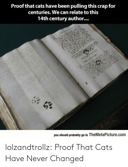 Cats, Tumblr, and Blog: Proof that cats have been pulling this crap for  centuries. We can relate to this  14th century autho...  z  you should probably go to TheMetaPicture.com  AAL  1  1Eレ lolzandtrollz:  Proof That Cats Have Never Changed