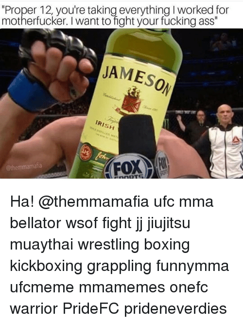 "Ass, Boxing, and Fucking: ""Proper 12, you're taking everything I worked for  motherfucker. I want to fight your fucking ass""  JAMESON  IRISH  FOX  @themmamafia Ha! @themmamafia ufc mma bellator wsof fight jj jiujitsu muaythai wrestling boxing kickboxing grappling funnymma ufcmeme mmamemes onefc warrior PrideFC prideneverdies"