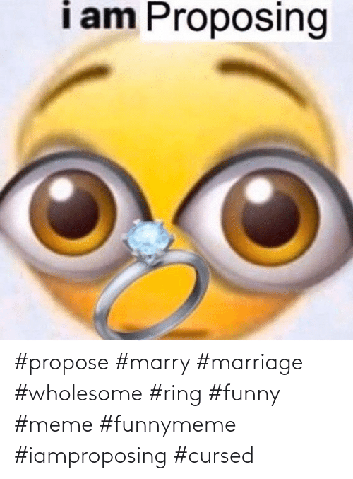 Funny, Marriage, and Meme: #propose #marry #marriage #wholesome #ring #funny #meme #funnymeme #iamproposing #cursed