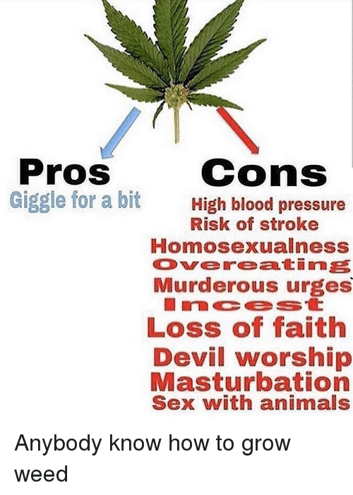 murderous: Pros  Giggle for a bit  cons  High blood pressure  Risk of stroke  Homosexualness  Overeatine  Murderous urges  LOSs of Taith  Devil worship  Masturbation  Sex with animals Anybody know how to grow weed