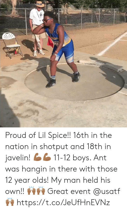 12 year olds: Proud of Lil Spice!! 16th in the nation in shotput and 18th in javelin! 💪🏾💪🏾 11-12 boys.  Ant was hangin in there with those 12 year olds!  My man held his own!! 🙌🏾🙌🏾 Great event @usatf 🙌🏾 https://t.co/JeUfHnEVNz