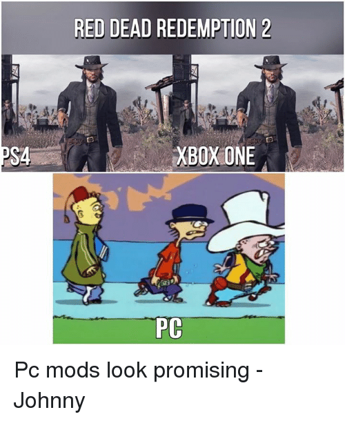 Memes, Ps4, and Reds: PS4  RED DEAD REDEMPTION 2  XBOXONE  PC Pc mods look promising  -Johnny