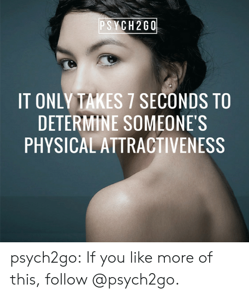 Attractiveness: PSYCH2G0  IT ONLY TAKES 7 SECONDS TO  DETERMINE SOMEONE'S  PHYSICAL ATTRACTIVENESS psych2go:    If you like more of this, follow @psych2go​.