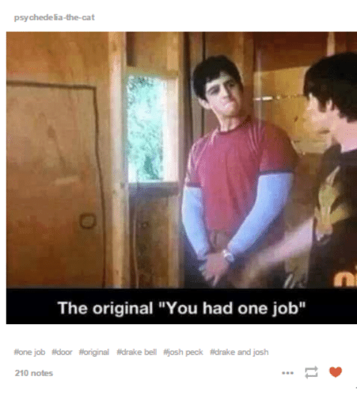 "Pecks: psychedelia-the-cat  The original ""You had one job""  #one job afdoor fioriginal #drake bell fjosh peck atdrake and josh  210 notes"