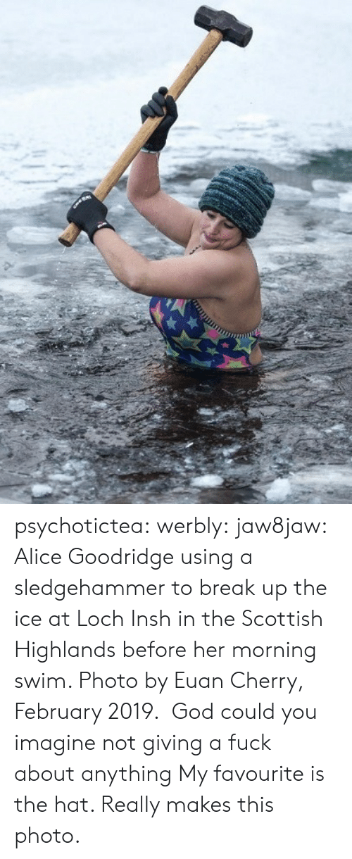 Cherry: psychotictea:  werbly:  jaw8jaw: Alice Goodridge using a sledgehammer to break up the ice at Loch Insh in the Scottish Highlands before her morning swim. Photo by Euan Cherry, February 2019.   God could you imagine not giving a fuck about anything   My favourite is the hat. Really makes this photo.