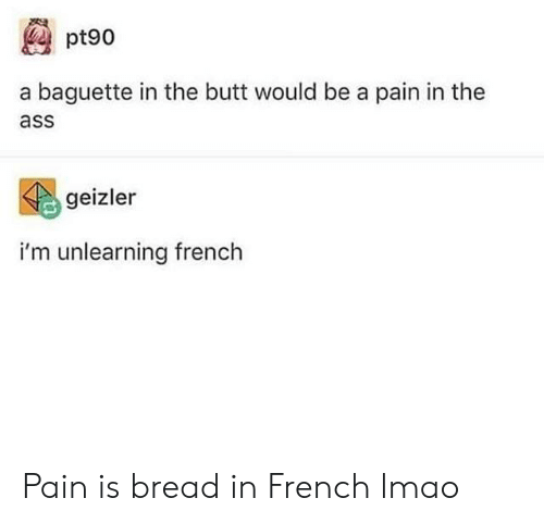 Ass, Butt, and Lmao: pt90  a baguette in the butt would be a pain in the  ass  geizler  i'm unlearning french Pain is bread in French lmao