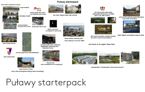 """Cars, Complex, and Family: Puławy starterpack  four main commerce zones:  supermarkets  ope  pulawy24  97,2 FM  the Czartoryski noble family  popularized the town as a holiday  spot in the 18th century  mainly plays disco polo  and forgotten pop songs  two main, highest-rated high schools  all kinds of stuff  where most cultural events take place  now under renovation  rTEKGLEJNY  mostly hardware  and other DIYer stuff  cheap 00s French cars  minor rap scene  not played on local radio  rabudec Ture k J  FrzychoanE ditrea  train station renovation close to end  WBOSTOWIC  their park and palace complex remains  the town's main tourist atraction  HOT  Azoty Puławy chemical plant  main employer since the 1960s  Caniaraymarestilte  lots of tower blocks  HEARSE necowanie.pl  not much of an upper class here  Sunday traffic jams of Warsaw  weekenders returning from  Kazimierz Dolny  ARMATUE  Nctoralk.  Eata  KS WISLA  1923  but also significant suburbanization  main sports team  Roma hood  tot Pictr Kawka  most inhabitants are unemployed  questionable """"investments in the local economy""""  only cinema in town  only a few moviegoers during most screenings Puławy starterpack"""