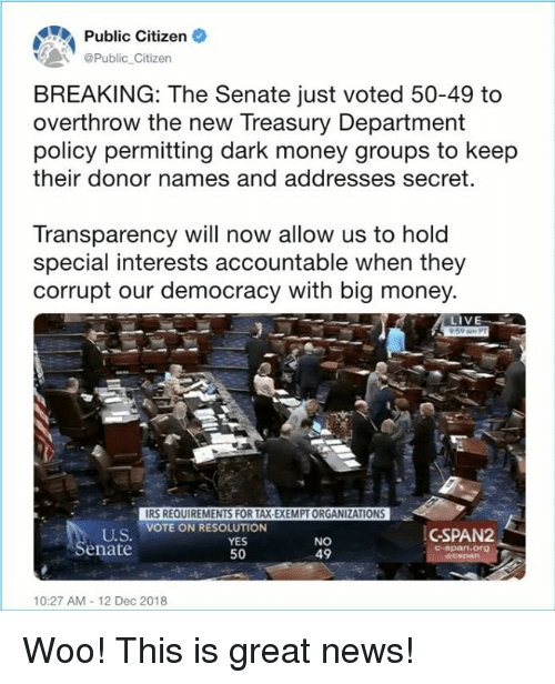 the senate: Public Citizen  Public Citizen  BREAKING: The Senate just voted 50-49 to  overthrow the new Treasury Department  policy permitting dark money groups to keep  their donor names and addresses secret.  Transparency will now allow us to hold  special interests accountable when they  corrupt our democracy with big money  LIV  IRS REQUIREMENTS FOR TAX-EXEMPT ORGANIZATIONS  VOTE ON RESOLUTION  U.S  enate  YES  50  NO  49  CSPAN2  C-span.Org  10:27 AM-12 Dec 2018 Woo! This is great news!