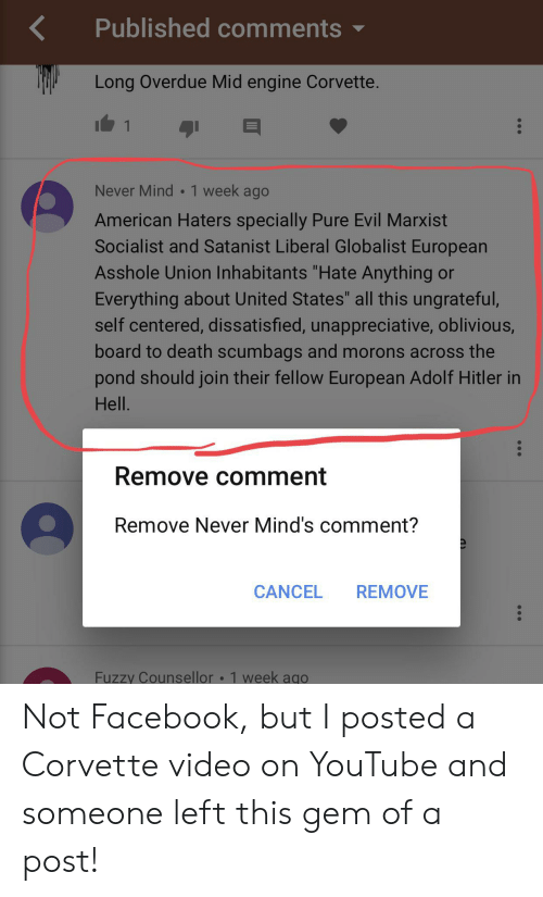 """Facebook, youtube.com, and American: Published comments  Long Overdue Mid engine Corvette.  1  Never Mind 1 week ago  American Haters specially Pure Evil Marxist  Socialist and Satanist Liberal Globalist European  Asshole Union Inhabitants """"Hate Anything or  Everything about United States"""" all this ungrateful,  self centered, dissatisfied, unappreciative, oblivious  board to death scumbags and morons across the  pond should join their fellow European Adolf Hitler in  Hell.  Remove comment  Remove Never Mind's comment?  CANCEL  REMOVE  Fuzzy Counsellor 1 week ago Not Facebook, but I posted a Corvette video on YouTube and someone left this gem of a post!"""