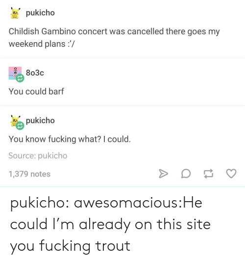 Weekend Plans: pukicho  Childish Gambino concert was cancelled there goes my  weekend plans:/  2 803c  You could barf  pukicho  You know fucking what? I could  Source: pukicho  1,379 notes pukicho:  awesomacious:He could I'm already on this site you fucking trout