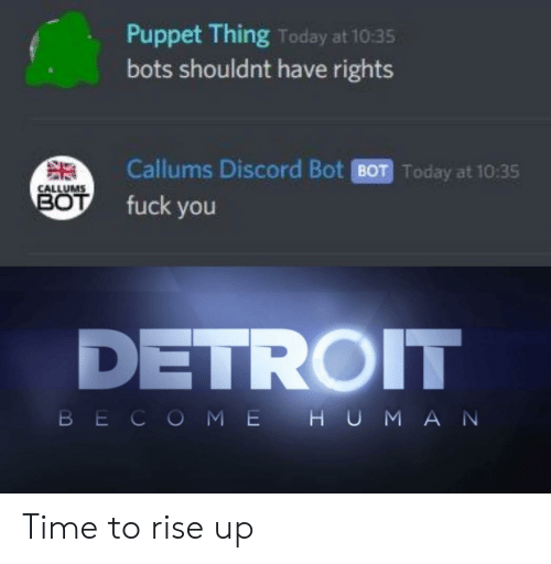 discord: Puppet Thing Today at 10:35  bots shouldnt have rights  Callums Discord Bot BOT Today at 10:35  CALLUMS  BOT  fuck you  DETROIT  BECOME H UMAN Time to rise up