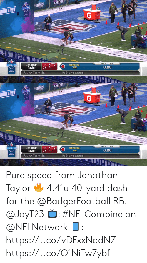nflnetwork: Pure speed from Jonathan Taylor 🔥  4.41u 40-yard dash for the @BadgerFootball RB. @JayT23  📺: #NFLCombine on @NFLNetwork 📱: https://t.co/vDFxxNddNZ https://t.co/O1NiTw7ybf