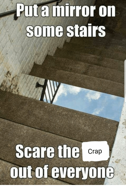 Scare, Mirror, and Everyone: Put a mirror on  some stairs  Scare the Crap  out of everyone