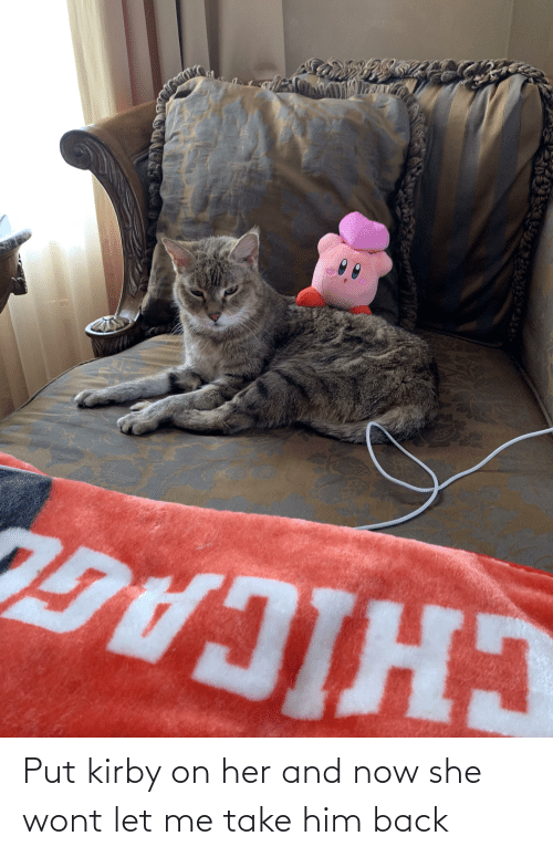 let me: Put kirby on her and now she wont let me take him back
