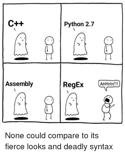 Python, Syntax, and Regex: Python 2.7  Assembly  RegEx  (AHHHH!!) None could compare to its fierce looks and deadly syntax