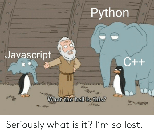 Lost, What Is, and Hell: Python  ol  Javascript  C++  What the hell is this? Seriously what is it? I'm so lost.