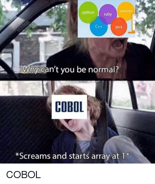 Java, Python, and Ruby: python ruby  Ctt  java  Why can't you be normal?  COBOL  *Screams and starts arrav at 1* COBOL