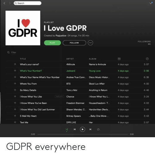 Britney Spears, Love, and Music: Q Search  PLAYLIST  GDPR  DILove GDPR  Created by Popjustice. 24 songs, 1 hr 30 min  FOLLOWERS  86  PLAY  FOLLOW  Q Filter  TITLE  ARTIST  ALBUM  What's your name?  4Minute  Name is 4minute  4 days ago  4 days ago  4 days ago  4 days ageo  4 days ago  4 days ago  4 days ago  4 days ago  4 days ago  4 days ago  3:07  +What's Your Number?  Jedward  2:56  6:36  4:00  4:46  3:24  4:03  Young Love  What's Your Name What's Your Number Andrea True Conn.... Disco Music Histor...  +Where You From  +So Many Details  +Know What You Like  + I Know Where You've Been  +Know What You Did Last Summer  +E-Mail My Heart  +Text Me  BTS  Skool Luv Affair  Toro y Moi  Anything in Return  EXPLICIT  Chance  I Know What You L..  Freedom Bremner Houseofreedom- T...  Shawn Mendes, C.. Handwritten (Revis..  Britney Spears  DPR LIVE  3:44  ..Baby One More.  3:43  Her  2:57  0:00  2:55 GDPR everywhere