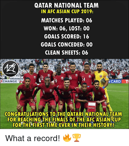 Asian, Finals, and Goals: QATAR NATIONAL TEAM  IN AFC ASIAN CUP 2019:  MATCHES PLAYED: 06  WON: 06, LOST: 00  GOALS SCORED: 16  GOALS CONCEDED: 00  CLEAN SHEETS: 06  ORGANIZATION  12  14  CHANGE  19  CARD  CONGRATULATIONS TO THE QATARI NATIONAL TEAM  FOR REACHING THE FINALS OF THE AFC ASIAN CUP  FOR THE  FIRST TIME-EVER IN THEİRHİSTORY! What a record! 🔥🏆