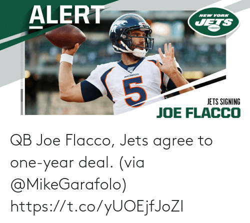 year: QB Joe Flacco, Jets agree to one-year deal. (via @MikeGarafolo) https://t.co/yUOEjfJoZI