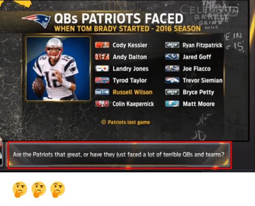 Colin Kaepernick, Patriotic, and Petty: QBS PATRIOTS FACED  GRI  WHEN TOM BRADY STARTED 2016 SEASON DA  E IN  Cody Kessler Ryan Fitzpatrick  c IS  Andy Dalton  Jared Goff  Landry Jones  Joe Flacco  Tyrod Taylor  Trevor Siemian  Russell Wilson  Bryce Petty  Colin Kaepernick Matt Moore  O Patriots lost game  Are the Patriots that great, or have they just faced a lot of terrible QBs and teams? 🤔🤔🤔