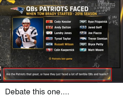 Colin Kaepernick, Memes, and Russell Wilson: QBs PATRIOTS FACED  WHEN TOM BRADY STARTED 2016 SEASON  GRI  VE IN  Cody Kessler  Ryan Fitzpatrick  c IS  Andy Dalton  KS Jared Goff  CO Landry Jones  Joe Flacco  Tyrod Taylor  Trevor Siemian  Russell Wilson  Bryce Petty  Colin Kaepernick Matt Moore  O Patriots lost game  Are the Patriots that great, or have they just faced a lot of terrible QBs and teams? Debate this one....