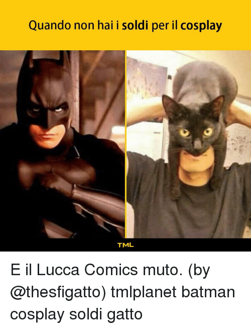 Batman, Memes, and Cosplay: Quando non hai i soldi per il cosplay  TML E il Lucca Comics muto. (by @thesfigatto) tmlplanet batman cosplay soldi gatto