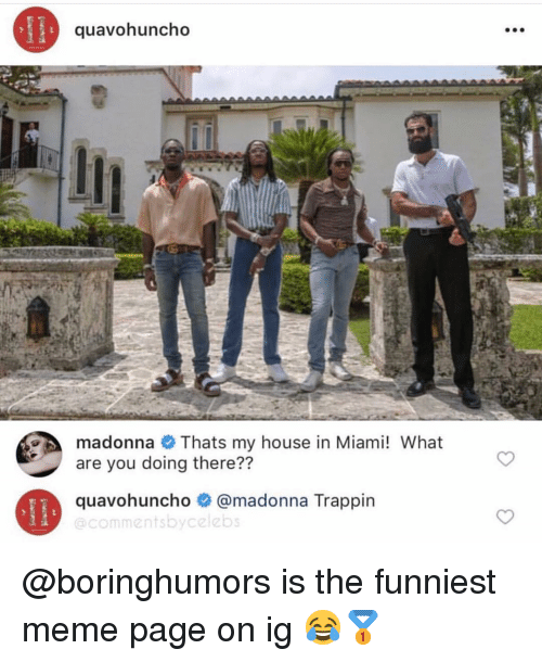 Madonna, Meme, and Memes: quavohuncho  madonna Thats my house in Miami! What  are you doing there??  quavohuncho # @madonna Trappin  @commentsbycelebs @boringhumors is the funniest meme page on ig 😂🥇