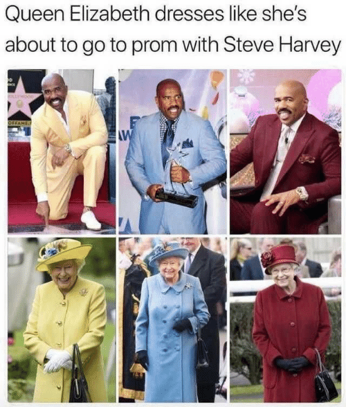 Queen Elizabeth, Steve Harvey, and Queen: Queen Elizabeth dresses like she's  about to go to prom with Steve Harvey  OLLWOOD  OFFAME  AW